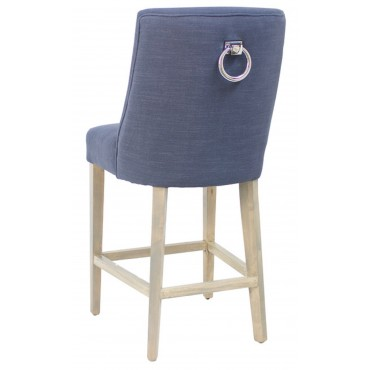 Ophelia Barstool Kitchen Bar Stool Chair Seat Frame Navy Blue Natural 49x105cm