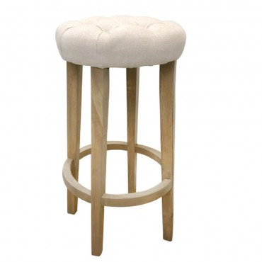 Thomas Barstool Kitchen Bar Stool Chair Seat Frame Viscose Linen Black 43x76cm