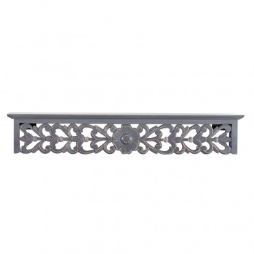 Ornate Wall Shelf Ledge Rack Stand Bookshelf Mdf  Distress Grey 76x12cm