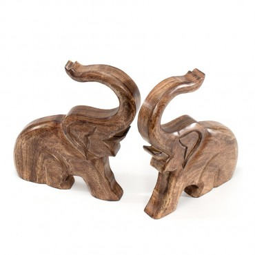 Set 2 Elephant Bookends Figurine Decor Mango Wood  Natural 28x25cm