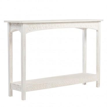 Hamptons Carved Console Table W/ Shelf Hallway Hall Unit 111x76cm