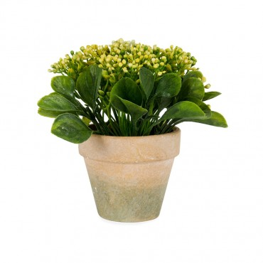 Potted Faux Yellow Baby'S Breath Plant Tree Artificial Fake Floral Plastic Foam Paper Mache Yellow/Green/Terracotta 16x16cm
