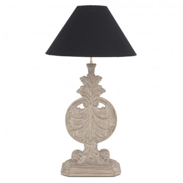 Montgomery Table Lamp Hand Carved Bedside Reading Light Black Grey 40x75cm