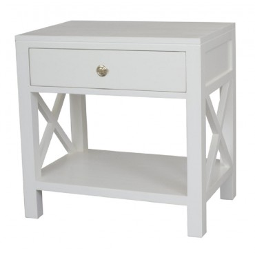 Catalina Crossed Bedside Side Table Lamp Unit Nightstand White 60x60cm