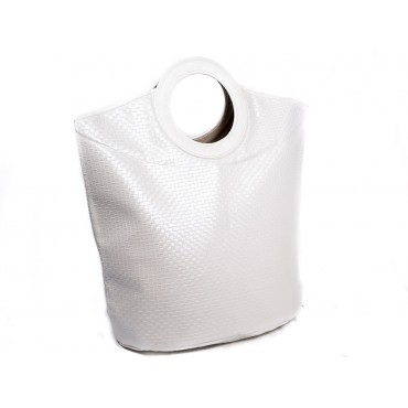 Laundry Hamper Totebag Clothes Holder Storage Bag Leather Pu White 69x70cm