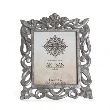 Artisan Ornate Photo Frame Picture Art Mango Wood Glass Grey Wash 31x39cm