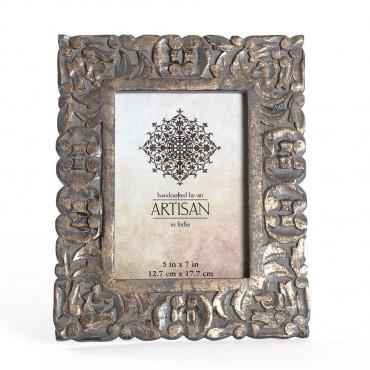 Artisan Ornate Photo Frame Picture Art Mango Wood Glass Gold Wash 22x27cm