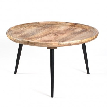 Oslo Trio Round Coffee Table Lamp Nightstand Metal Mango Wood 75x40cm