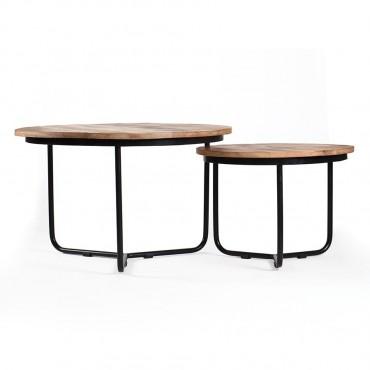 Set Of 2 Casa Coffee Table Lamp Nightstand Metal Mango Wood 75x45cm