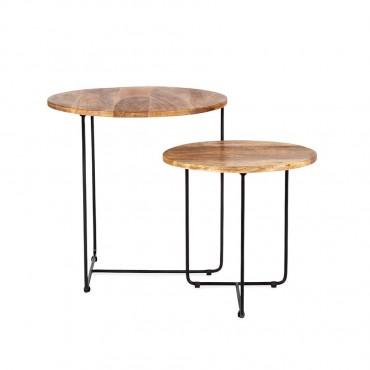 Set 2 Nested Bergen Trio Side Table Lamp Nightstand Metal Wood 50cm