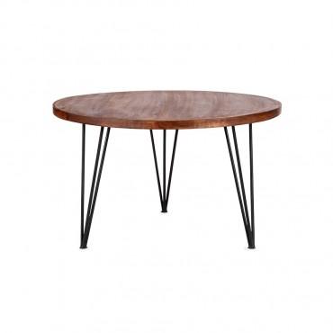 Lino Round Coffee Table Lamp Nightstand Iron Metal Wood Natural Black 75x45cm