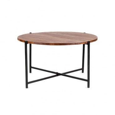 Oslo Quatro Round Coffee Table Lamp Nightstand Iron Wood Natural Black 75x40cm