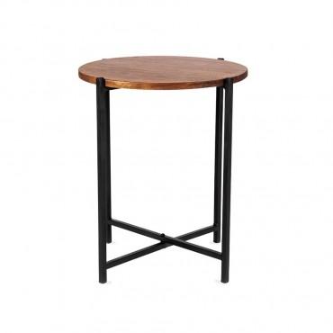 Oslo Quatro Round Side Table Lamp Nightstand Iron Wood Natural Black 45x50cm