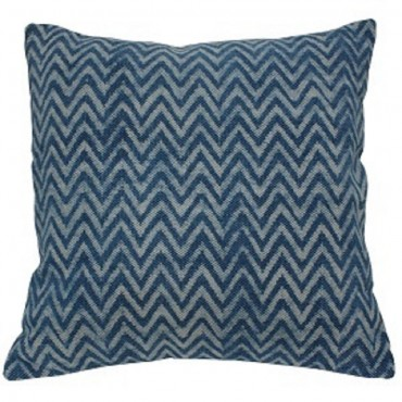 Faded Indigo Zig Zag Cushion Decorative Pillow Cotton Blue White 50x3cm