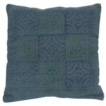 Inca Cushion Decorative Pillow Cotton Blue Green Natural 50x3cm