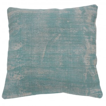 Washed Aqua Cushion Decorative Pillow Cotton Scuba Blue 50x3cm