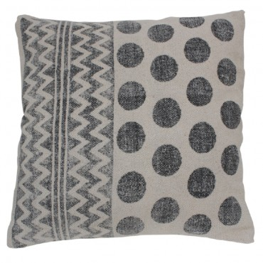 Circle Cushion Decorative Pillow Cotton Grey White 50x3cm