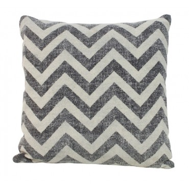 Faded Chevron Cushion Decorative Pillow Cotton Black White 50x3cm