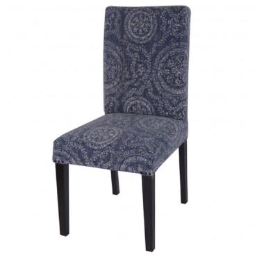 Designer Dining Circle Chair Seat Sofa Lounge Mango Wood Indigo 45x95cm