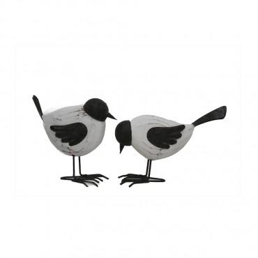 Set 2 Assort Bird Couple Garden Sculpture Figurine Ornament White Grey 16x6cm