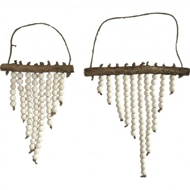 Set Of 2 Nested W/ Beads Wall Hanging Screen Sign Theaceae Natural 28x30cm