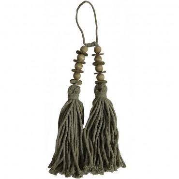 Twin Tassel  W/ Beads Hand Craft Neck Piece Cotton Green 10x38cm