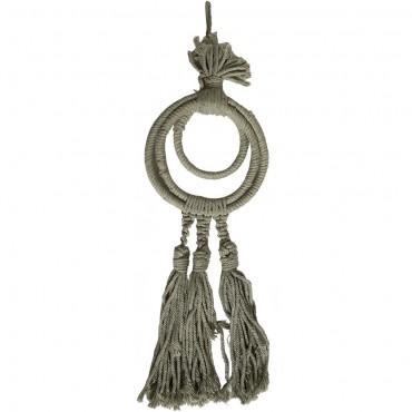 Three Ring Triple Tassel Taupe Hand Craft Neck Piece Cotton Grey 10x43cm