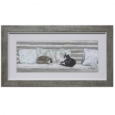 Sleep In Wall Art Hanging Screen Sign Glass Paper Grey 43x23cm