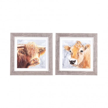 Set Of 2 Bailey Betty Moo Picture Frame Hanging Screen Sign Glass Multi 25x25cm