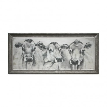 Contemporary Cow Framed Wall Art Picture Art Timber Paper Sepia 93x48cm