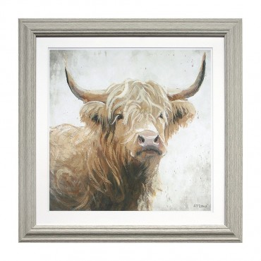Harvey The Highland Cow Framed Glass Wall Art Picture Art Timber Paper 56x56cm