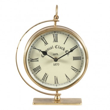 Colonial Round Table Clock Hanging Art Decor Metal + Glass Antique Gold + White 18x24cm