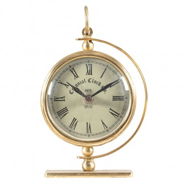Colonial Round Table Clock Hanging Art Decor Metal + Glass Antique Gold + White 13x18cm