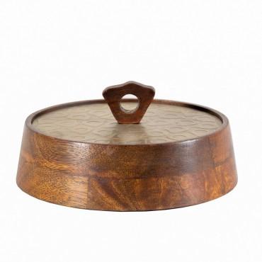 Cerchio Round Box Storage Container Holder Iron Wood Gold Walnut 19x8cm