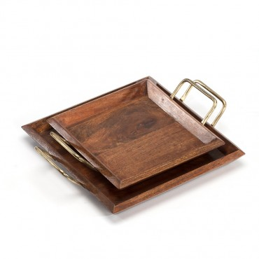 Set 2 Nested Square Trays W/ Classic Silver Handle Fruit Platter Serving Holder Wood / Iron Natural / Antique Silver 31x5cm