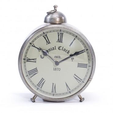Round Antique Colonial Table Clock W/ Faux Alarm Hanging Art Decor Iron / Glass Antique Silver 16x21cm