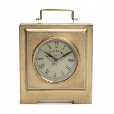 Square Colonial Table Clock Hanging Art Decor Iron / Glass Antique Gold 16x6cm