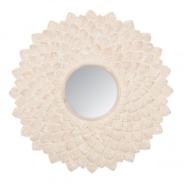 Handcarved Medallion Mirror Round Hanging Art Wood White Wash 90x90cm