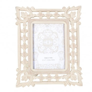 Handcrafted Flame Corner Photo Frame Picture Art Wood White Wash 24x29cm