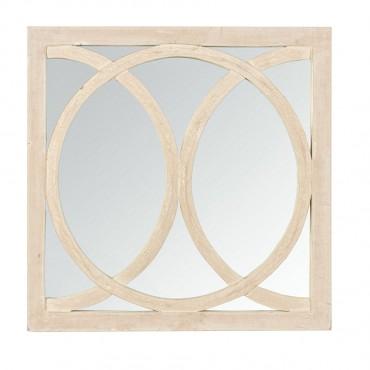Large Square Circolo Mirror Hanging Art Wood White 60x60cm