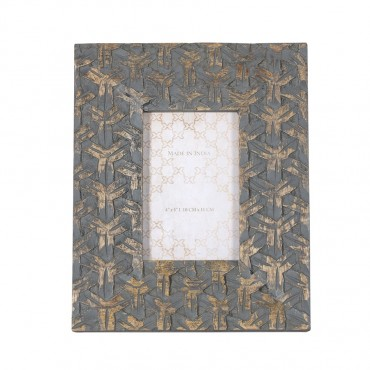 Handcarved Weave Photo Frame Picture Art Mango Woods Grey 22x27cm