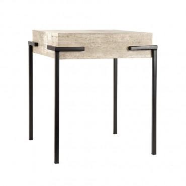 Sorrento Side Table Lamp Nightstand Metal Melamine Alaska Oak 40x45cm