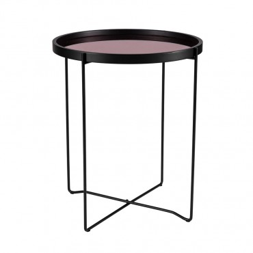 Rosa Round Mirror Side Table Lamp Nightstand Metal Black Rose Gold 50x60cm