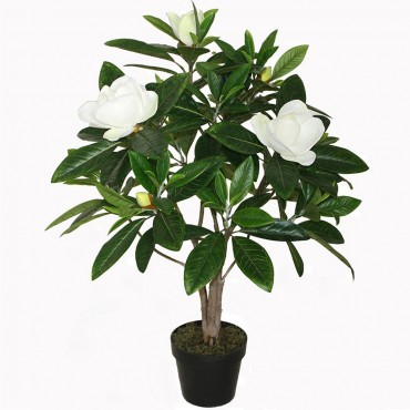 Potted Faux Magnolia Tree Plant Artificial Fake Floral Green 30x90cm