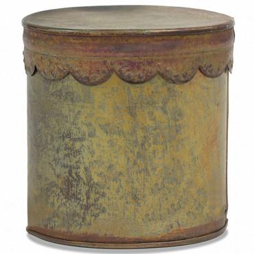 Antique Copper Round Lid Box Storage Container Holder Metal Copper 13x13cm