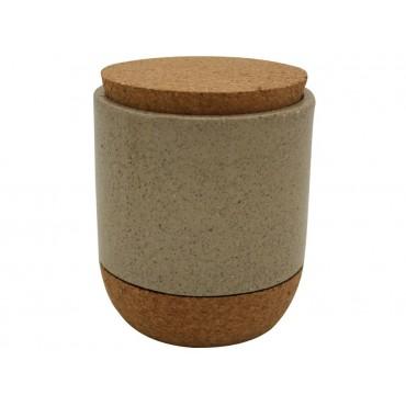Stoneware Canister W/ Cork Detail Jar Sugar Tea Food Storage Taupe 11x13cm