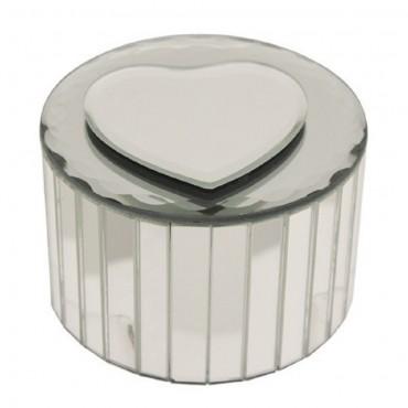 Heart Round Jewellery Box Small Storage Container Holder Glass Mirror 9x9cm