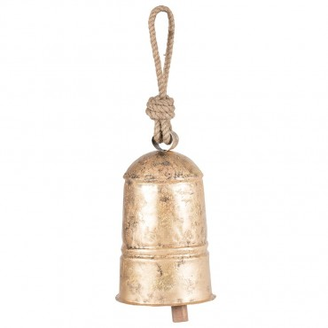 Cow Bell W/ Rope Hanger Chime Hanging Sign Decor Metal Distress Gold 18x30cm