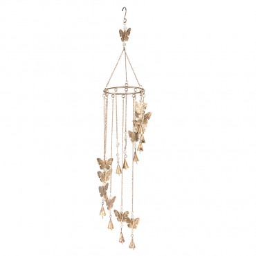 Round Hanging Chime W/ Butterfly Bead Bell Hanger Hanging Sign Decor 90x15cm