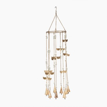 Round Hanging Chime W/ Dragonflies Bead Bell Hanger Hanging Sign Decor 82x18cm